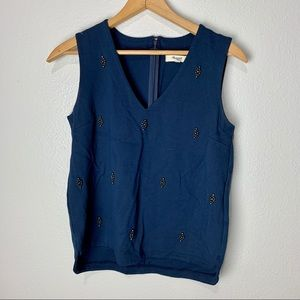 Madewell Navy Blue Beaded Blouse